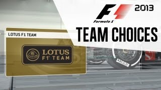 F1 2013 - Team Choices for Season 1 (Career)