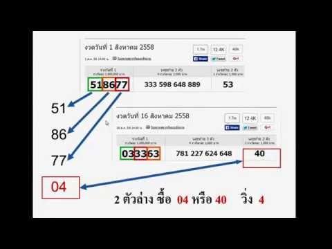 สอนสูตรคำนวณหวย 2 ตัวล่าง เลขวิ่ง 16 พฤศจิกายน 2558