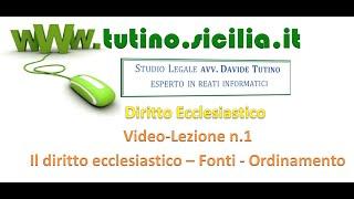 Diritto Ecclesiastico : Video lezione n.1: Principi generali, fonti, ordinamento giuridico