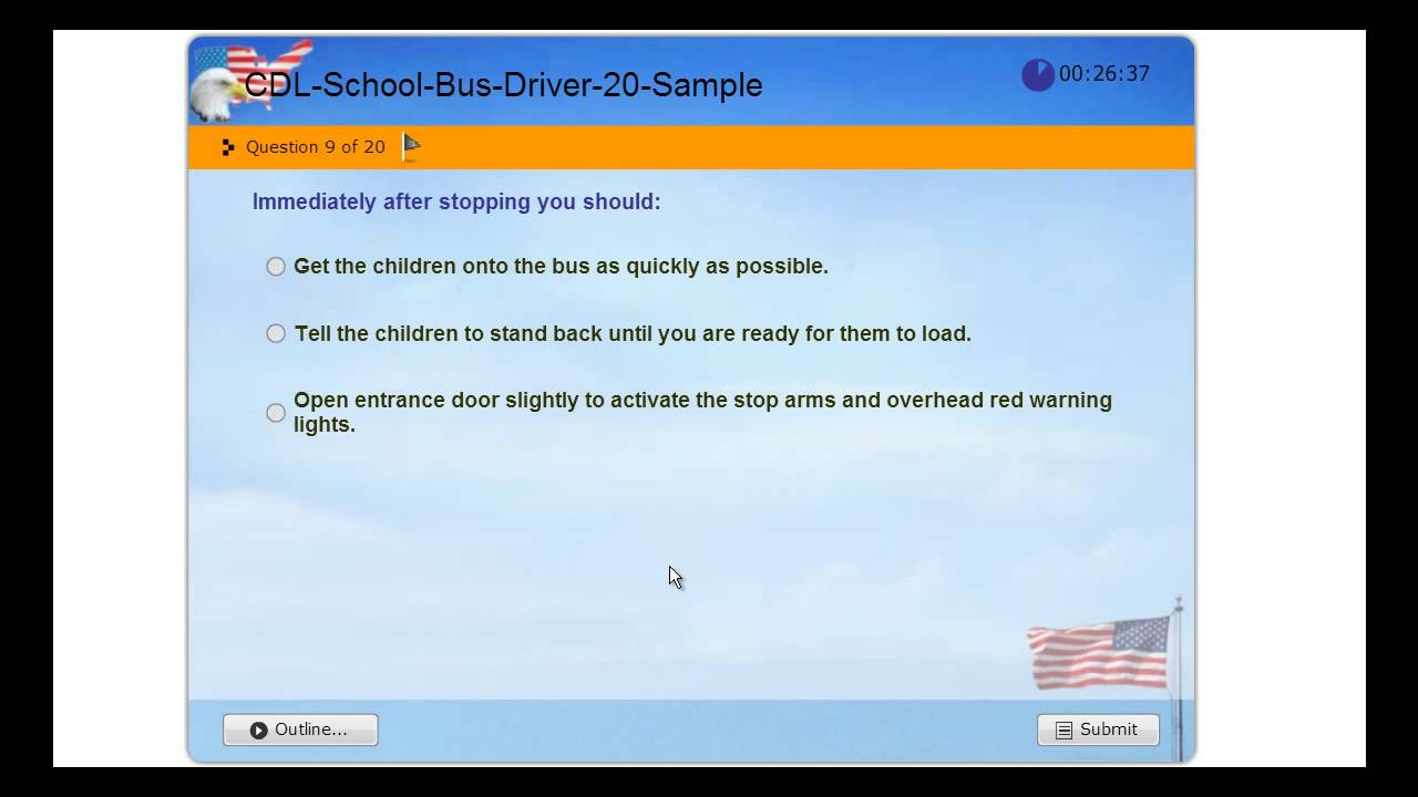 Cdl School Bus Commercial Driver License Practice Exam Usa