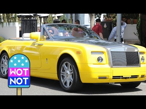Scott Disick In A Yellow Rolls Royce Driving Through Beverly Hills
