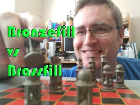 Colorfabb Brassfill vs Bronzefill filament Chess set 3D print