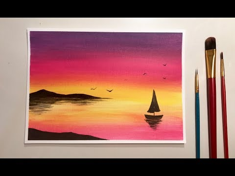 Simple Acrylic Sunset For Beginners
