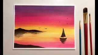 Simple Acrylic Sunset Painting For Beginners