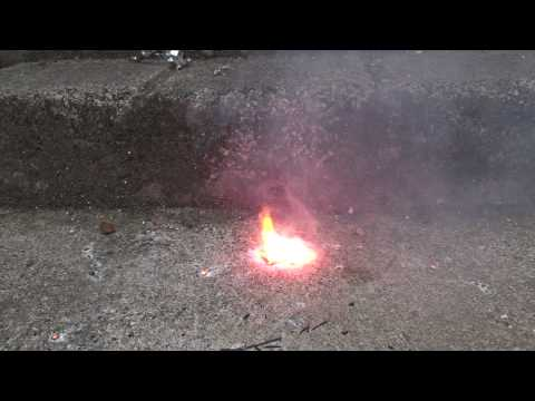 Burning Lithium from a flat Energiser battery.©