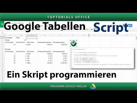 Mein erstes Skript programmieren / Funktion (Google Tabellen / Spreadsheets) Script #0