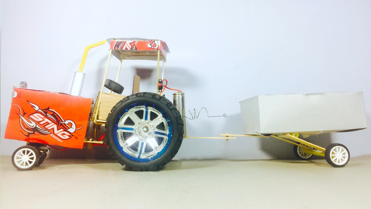 How To Make A Tractor With Dc Motor At Home Easy