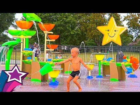 Max Plays at Increditble Water Park Playground Splashground With Nursery Rhymes Songs Learn ABC Song