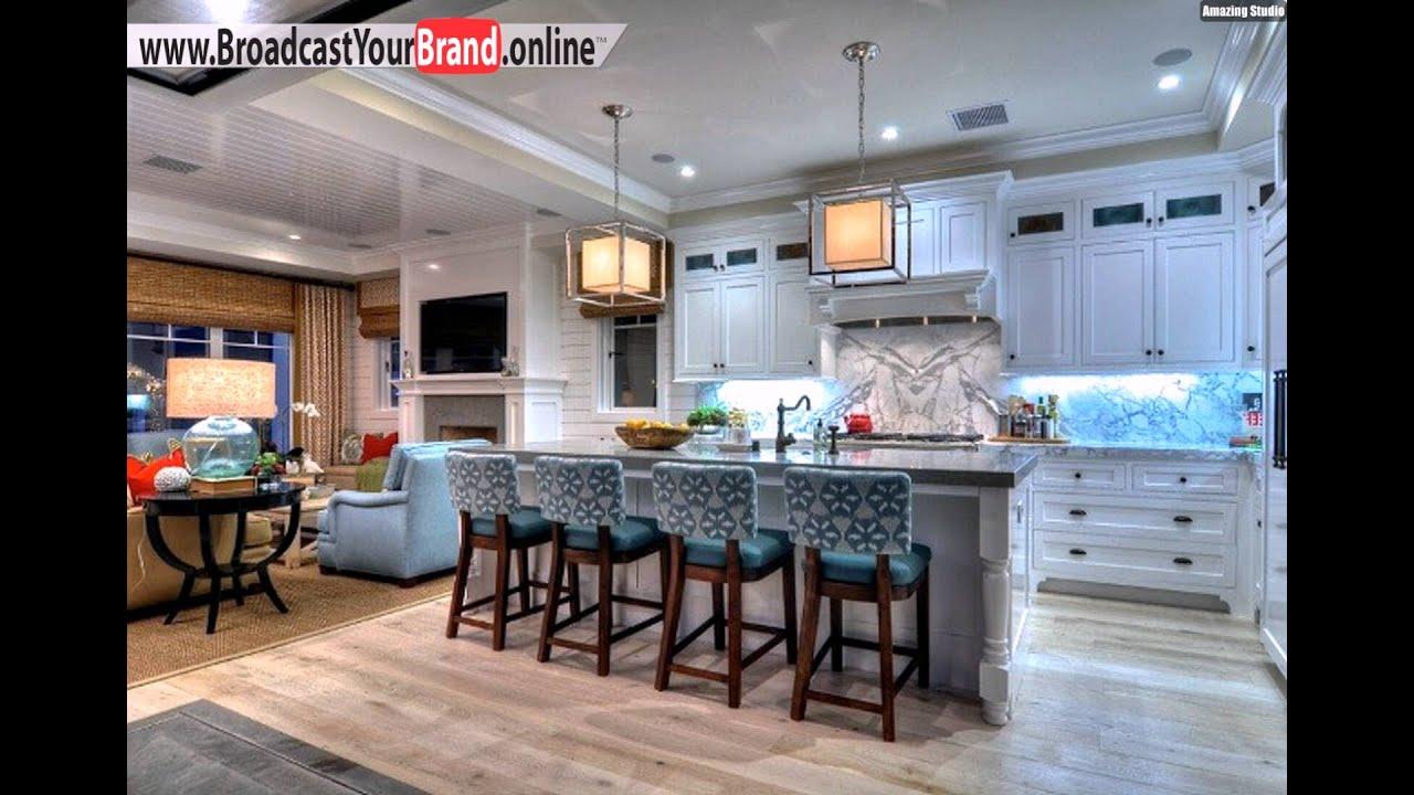 Wohnideen Küche Eklektisch Weiß Marmor Barstühle Blau Muster ...