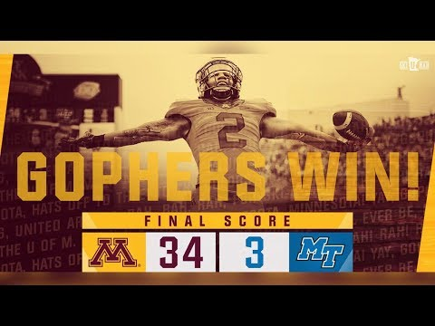 Highlights: Gopher Football Defeats Middle Tennessee 34-3