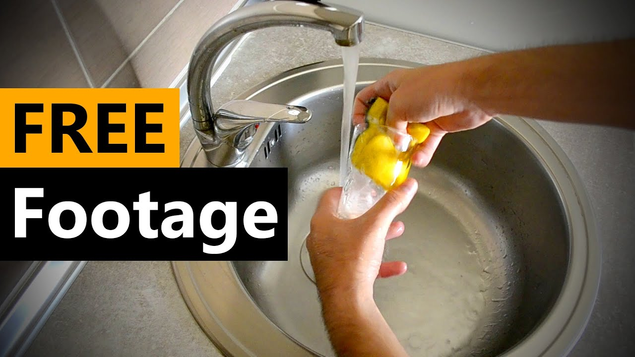 Kitchen Sink - Water - Washing Footage- FREE Stock Video Footage [Download Full HD]