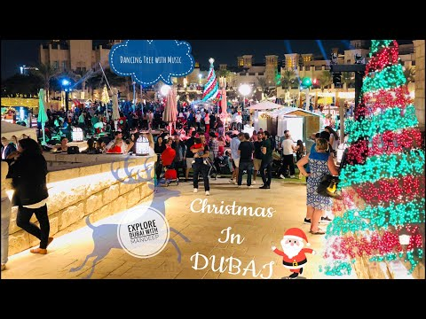 Souk Christmas festive market in Dubai 2017. Dancing Christmas Tree