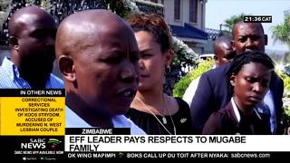 Malema in Zim to pay condolences to the Mugabe family