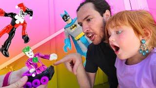 ADLEY vs BATMAN vs THE JOKER!!  Hidden Backyard surprises pretend play with Mom and Dad! hide n seek