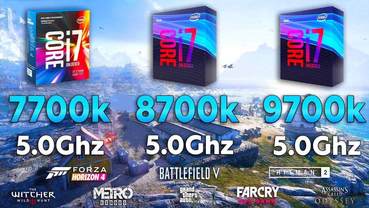 i7 7700k vs i7 8700k vs i7 9700k Test in 8 Games