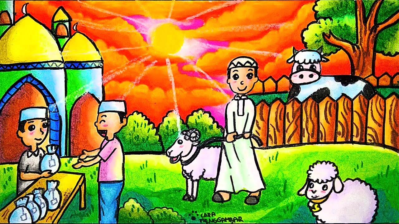 Cara Menggambar Dan Mewarnai Tema Hari Raya Idul Adha Hewan Kurban Yang Bagus Dan Mudah Ep 199 Youtube