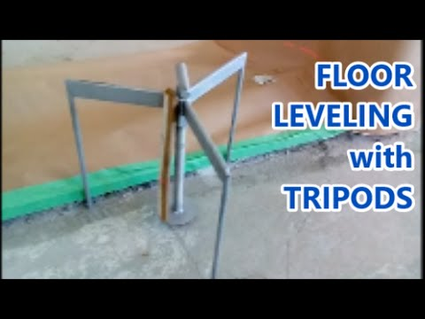 Concrete Floor Leveling Trick With Floor Screed Tripods