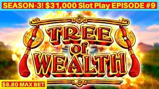 Tree of Wealth Slot Machine $8.80 Max Bet Bonuses & BIG WIN | Season 3 | EPISODE #9