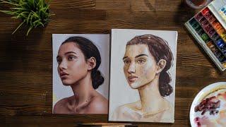 Как нарисовать портрет поэтапно акварелью в 3/4. Обучающий видео урок по рисованию для начинающих