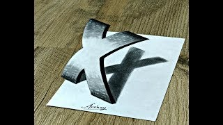 3D Letter Drawing - How To Draw Curved Letter X - Art Maker Akshay
