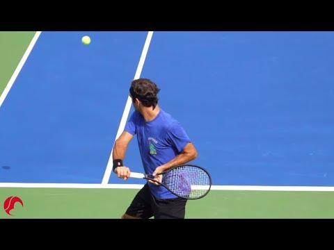 Roger Federer Backhand Slow Motion 2019 - Court Level View [Tennis One Handed Backhand Technique]