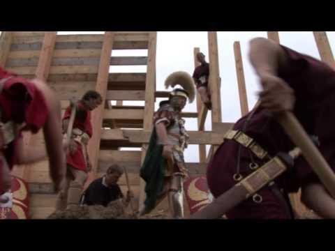 Roman legionaries build fortress wall