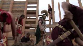 Roman legionaries build fortress wall