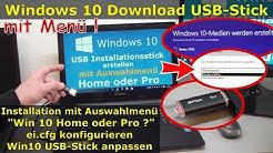 Windows 10 Download - USB-Stick mit Auswahlmenü Pro oder Home | ISO mit ei.cfg konfigurieren