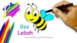 Lebah 🎨 Cara Menggambar Dan Mewarnai Gambar Hewan (How to Draw a Bee)