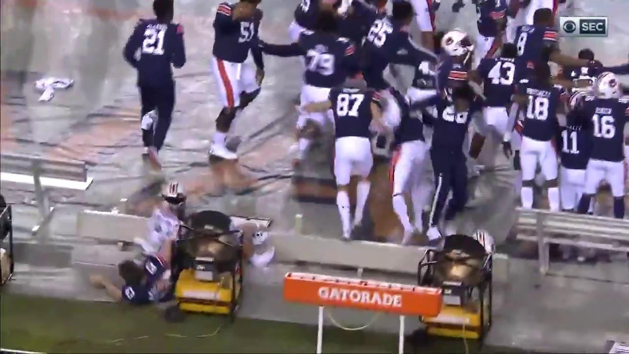 Auburn Tigers Bench Celebration Fail Auburn Vs Georgia