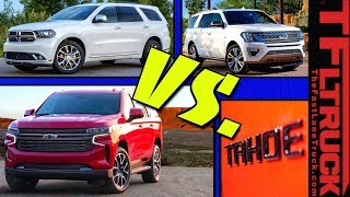 GM vs Ford vs Dodge! Here's How The 2021 Chevy Suburban & Tahoe Compare To The Expedition & Durango