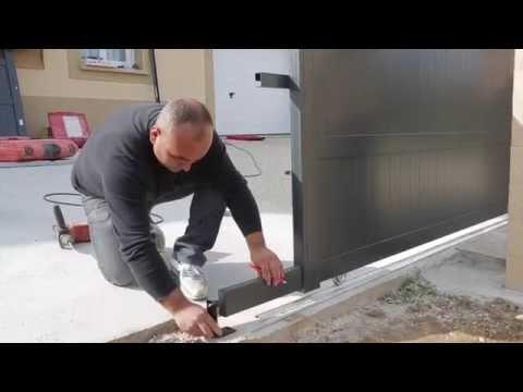Installation d'un portail aluminium coulissant Emalu