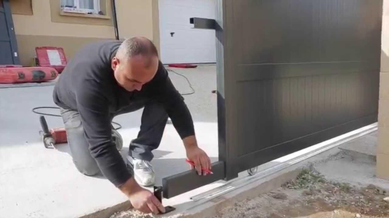 installation dun portail aluminium coulissant emalu youtube