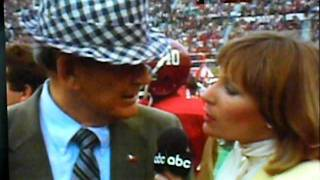 Bear Bryant has no time for girl sideline reporter.