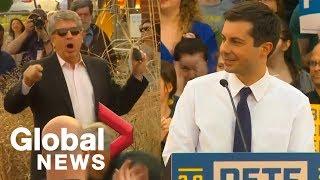 Pete Buttigieg responds to anti-gay heckler during Iowa rally