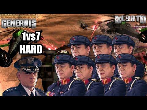 Command \u0026 Conquer Generals: Zero Hour - USA Air 1 Vs 7 China Nuke [HARD ENEMY]