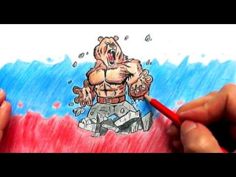 Как нарисовать флаг России поэтапно(Ehedov Elnur) How To Draw A Bear And Russian Flag