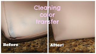 EASIEST way to Clean Color Transfer Off Saffiano Leather! (: