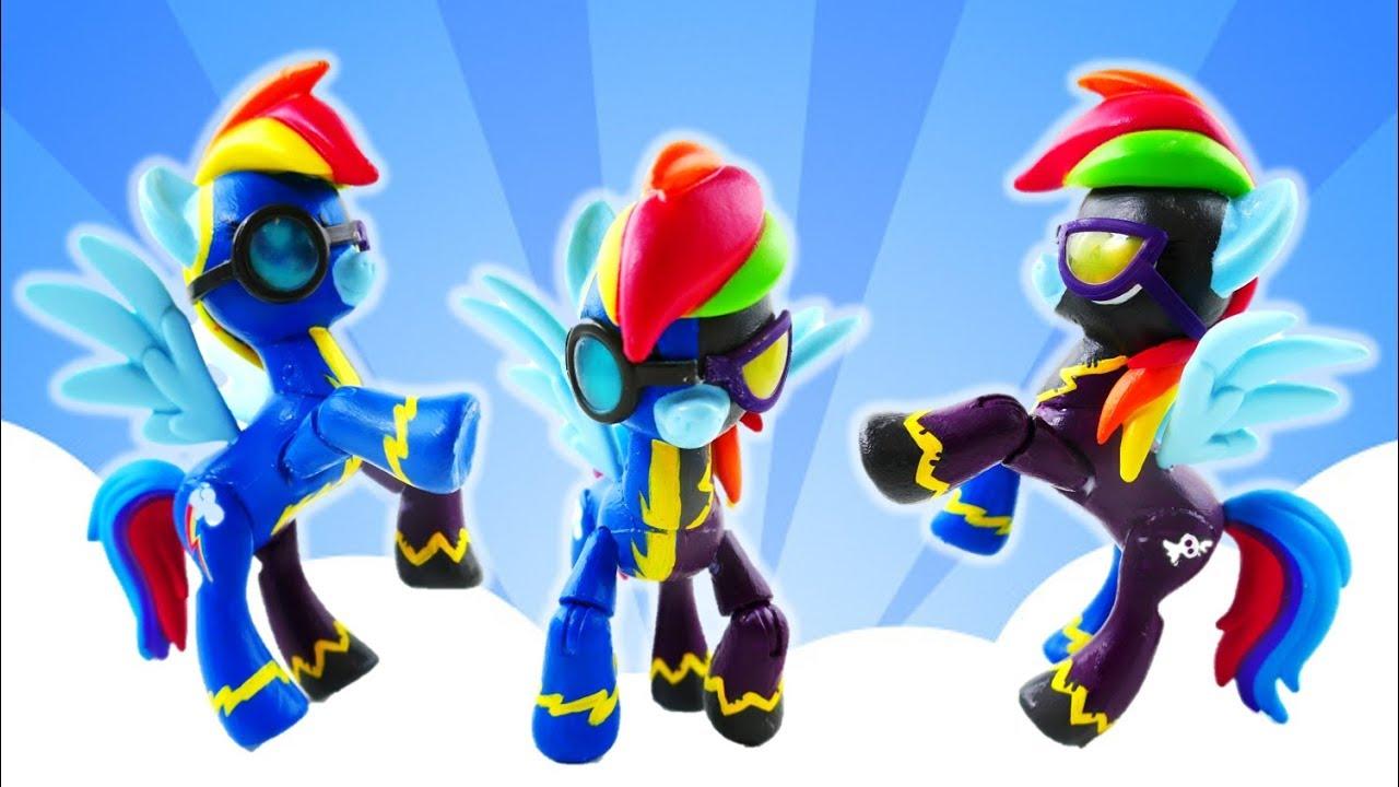 Mlp rainbow dash split pony wonderbolt and shadowbolt custom pony.