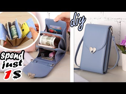 DIY CROSSBODY PURSE POUCH POPULAR DESIGN 2018 FROM OLD BAG JUST FOR 1 USD