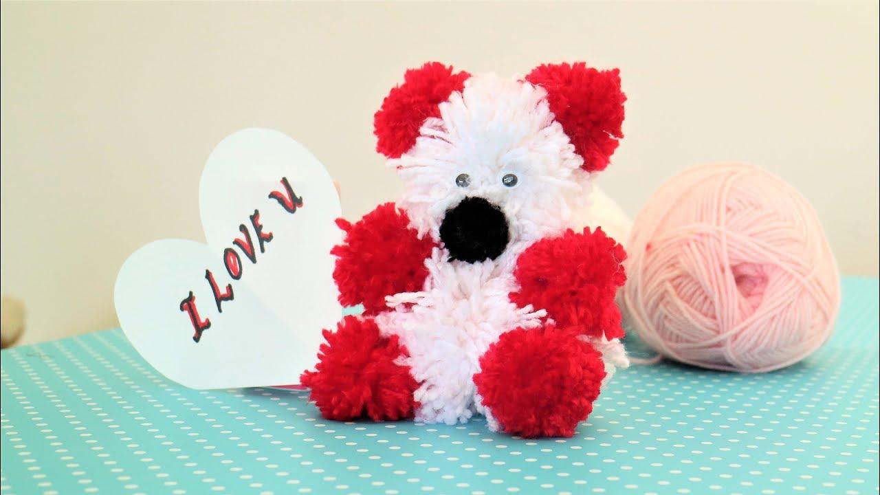 Teddy Bear Valentine S Day Gift Diy Yarn Pom Pom Craft Knitting