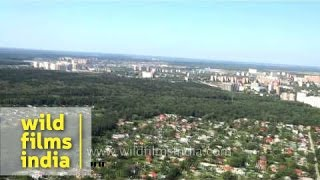 Aerial footage of New Moscow