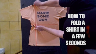 How to fold a shirt fast in a few seconds - Life Hacks for Kids - Easy way to fold a shirt