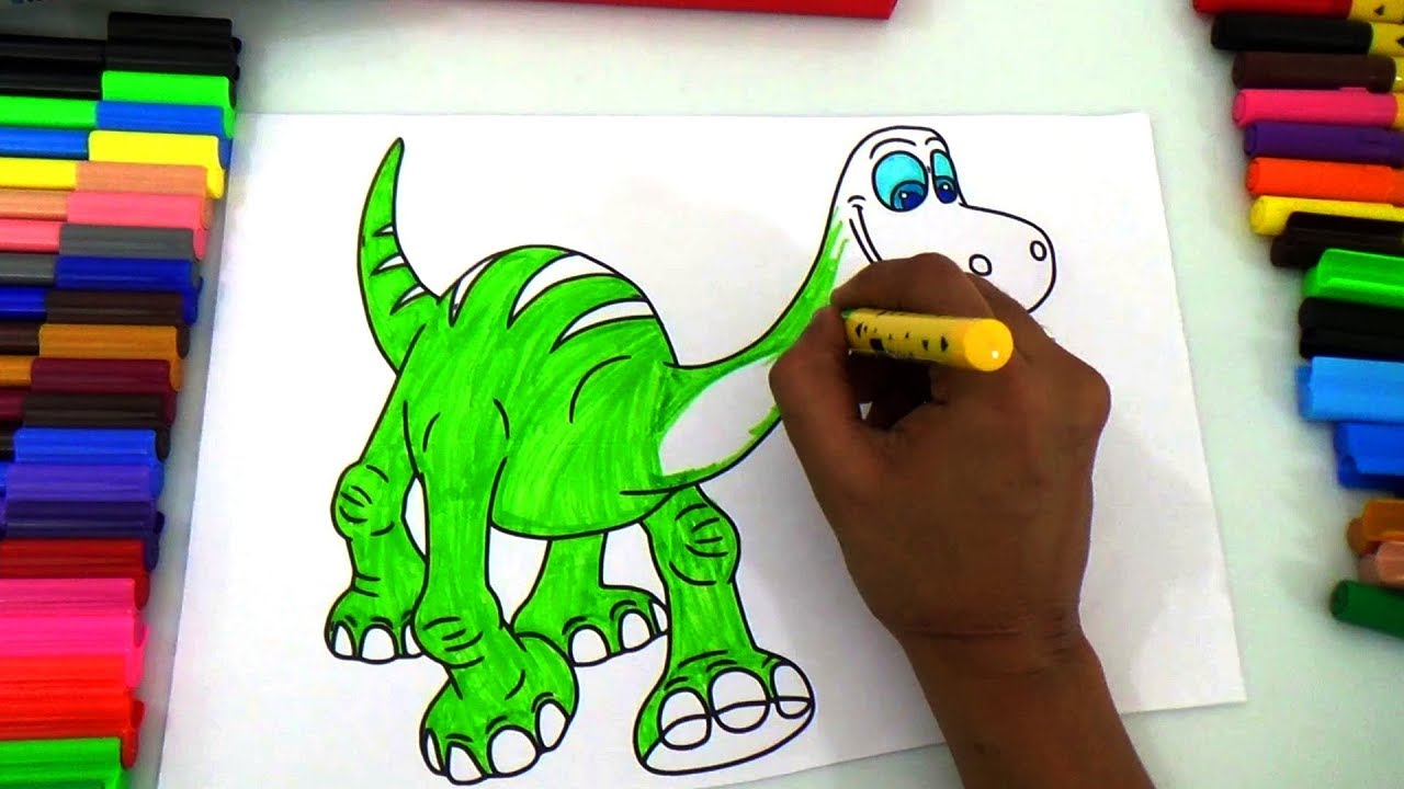 dinosaur painting for kids |coloring book for children| kids color ...