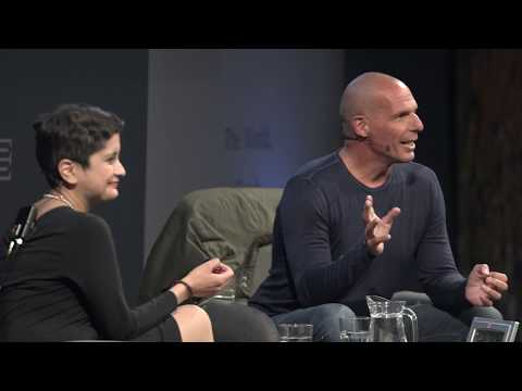 Yanis Varoufakis with Shami Chakrabarti at the Edinburgh International Book Festival