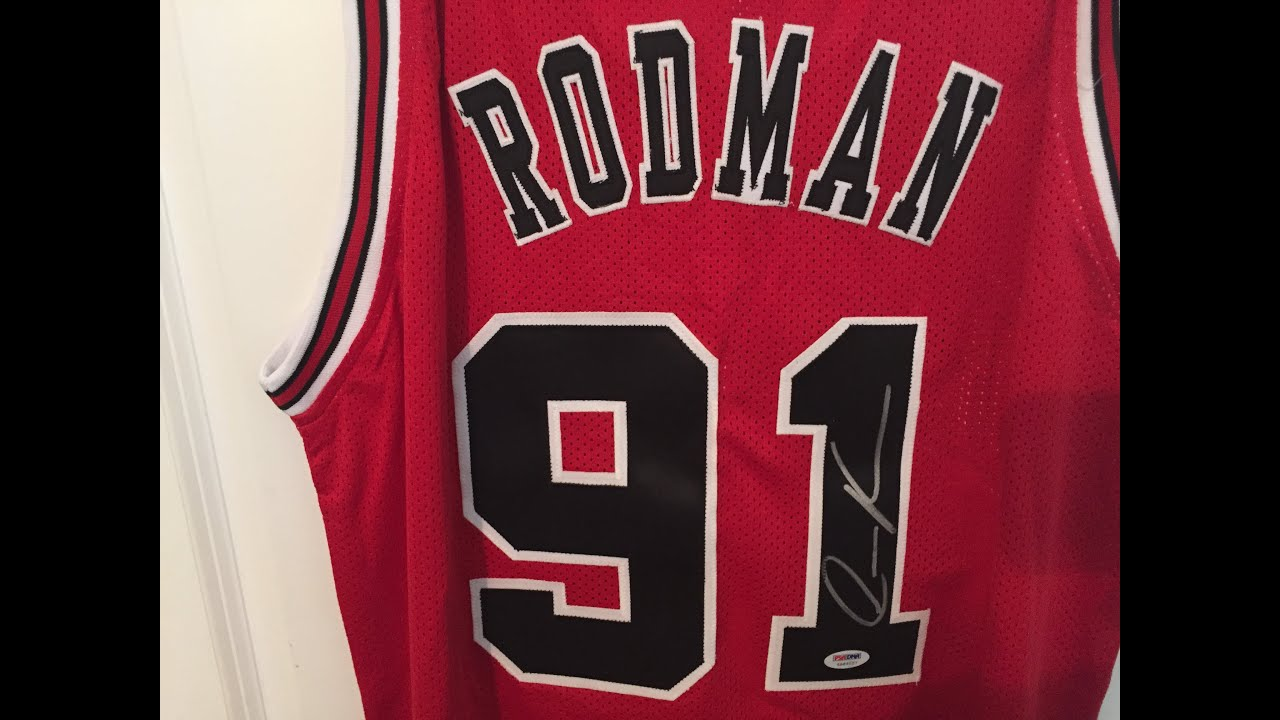 a7c49b66ba2 ... Dennis Rodman Authentic Autographed Signed Bulls Jersey PSADNA  Throwback NBA Dennis Rodman Los Angeles Lakers Yellow 73 ...