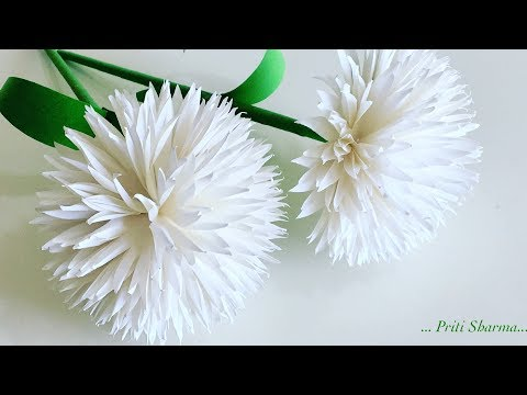 How To Make Beautiful Paper Flower / DIY Easy Paper Flower Sticks | Priti Sharma