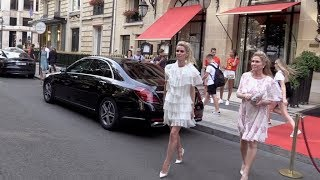 EXCLUSIVE : Nicky Hilton wearing a beautiful dress in Paris