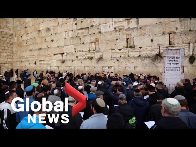 Coronavirus outbreak: Hundreds hold mass prayer at Jerusalem's Western Wall for those impacted