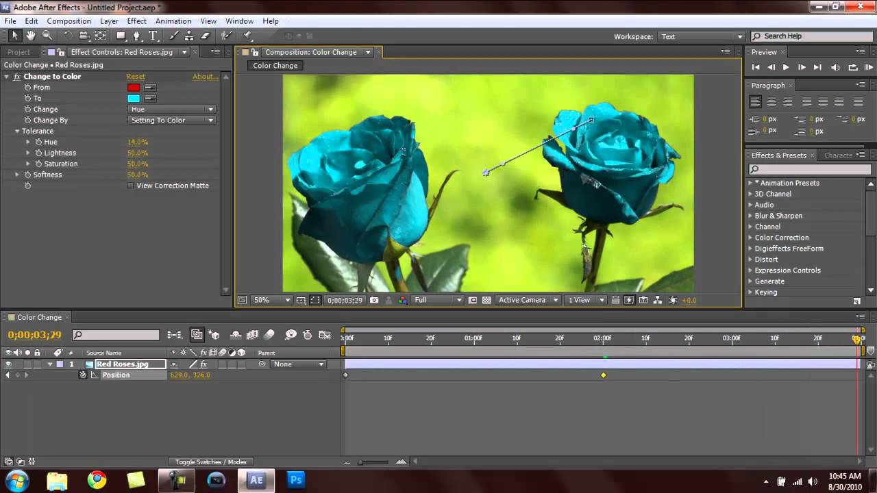 Adobe After Effects Color Changing Effect